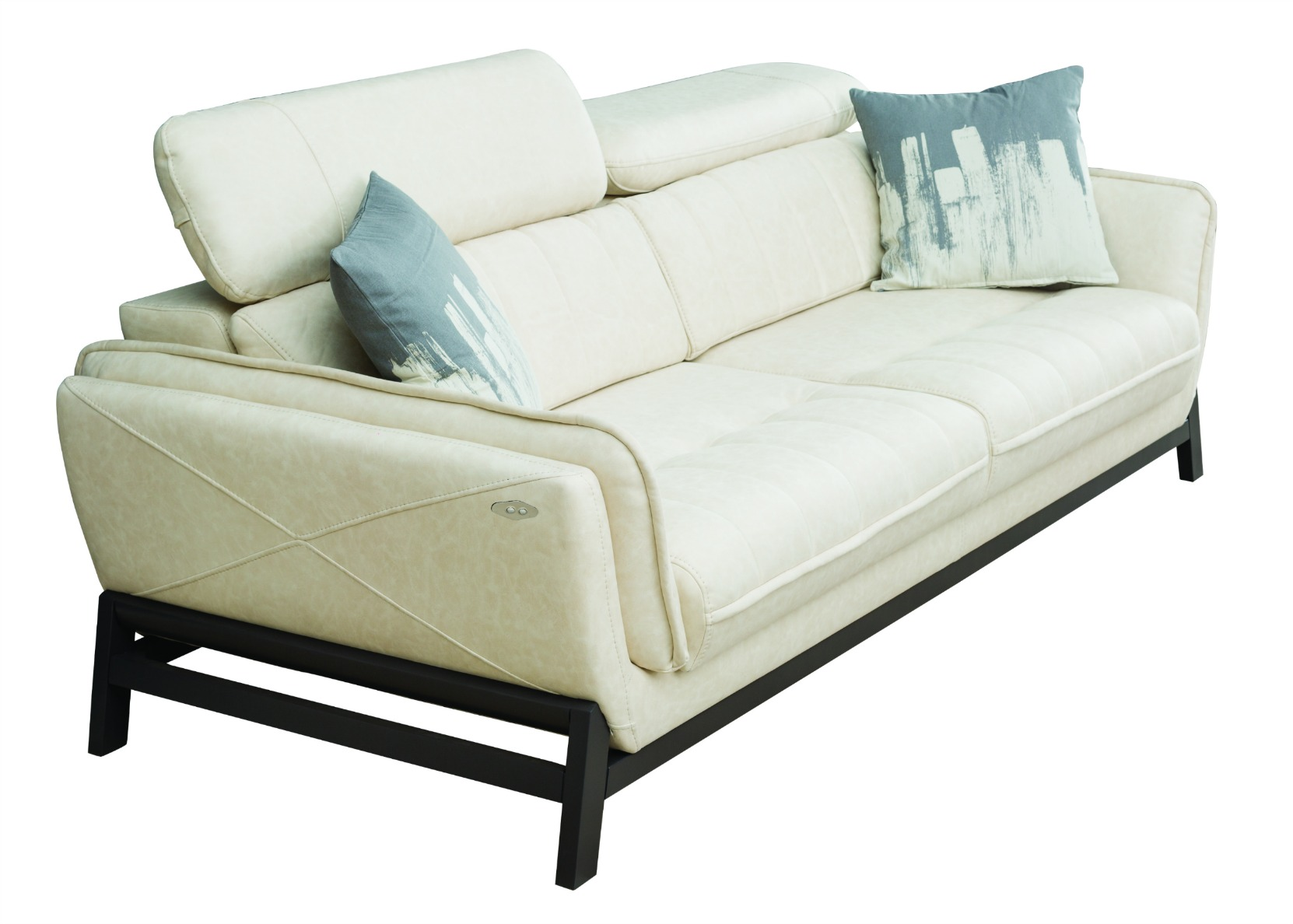 motorized sectional sofa two seater small relax with sliding seat in white not just