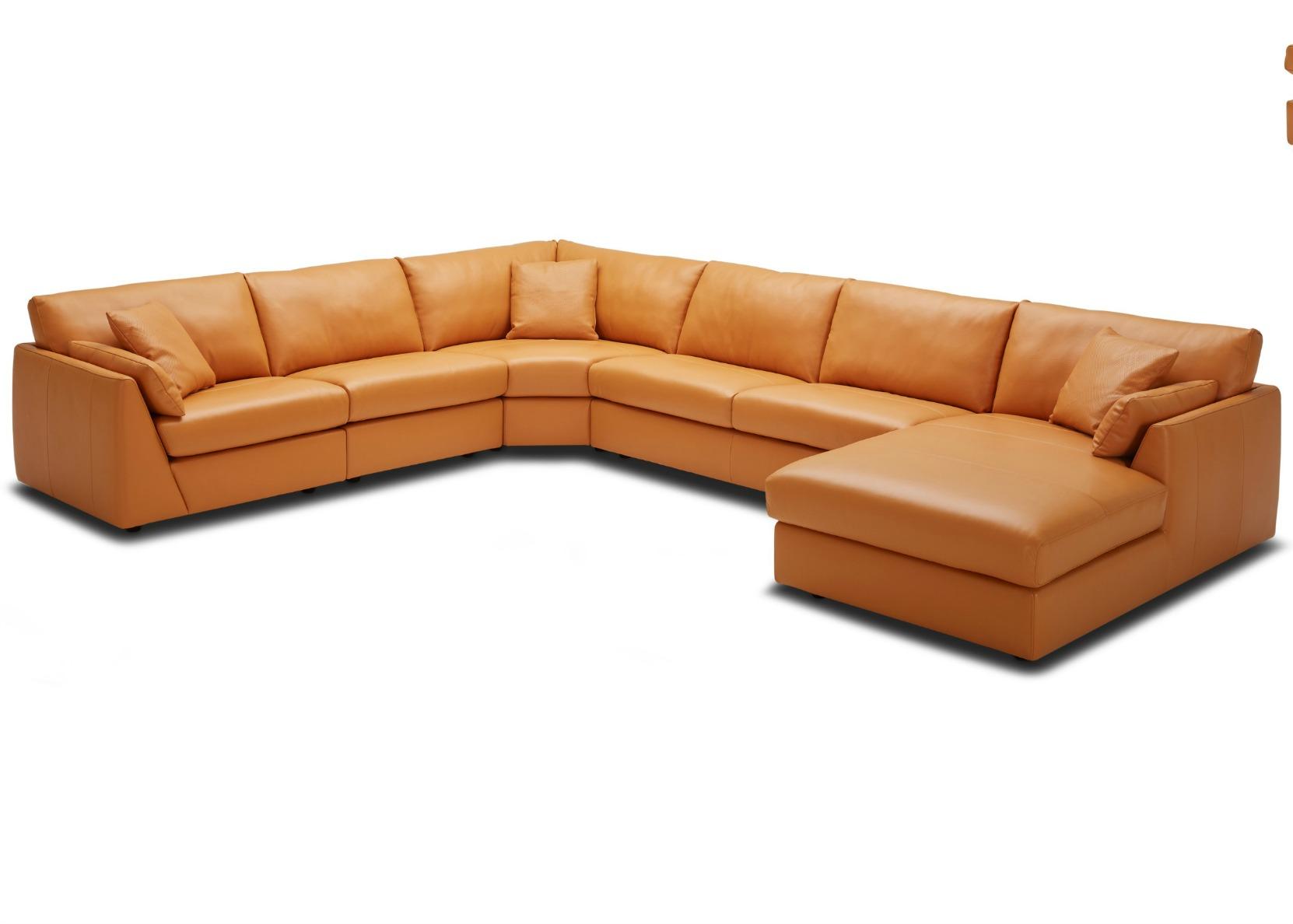 Tan Leather Chaise Sofa