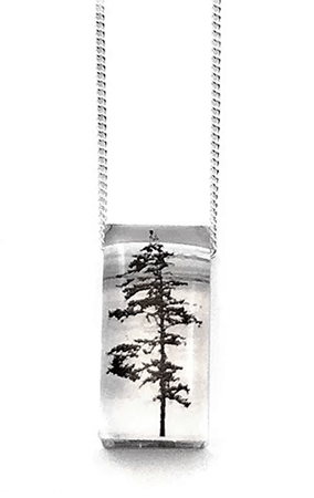 Tiny forest pendant by Black Drop Designs, Canadian handmade jewelry artist