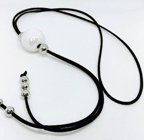 Black necklace with white ceramic ball, ultrasuede necklace or choker by Canadian women's handmade jewelry artist Atelier Syp