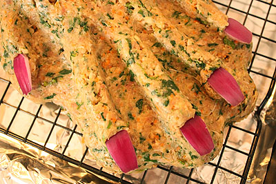 The hand meat - version No.3, with red onion fingernails!