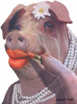 Pig putting on lipstick