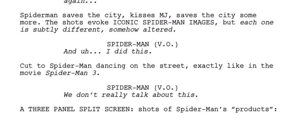 guion spider man script (spider-verse)