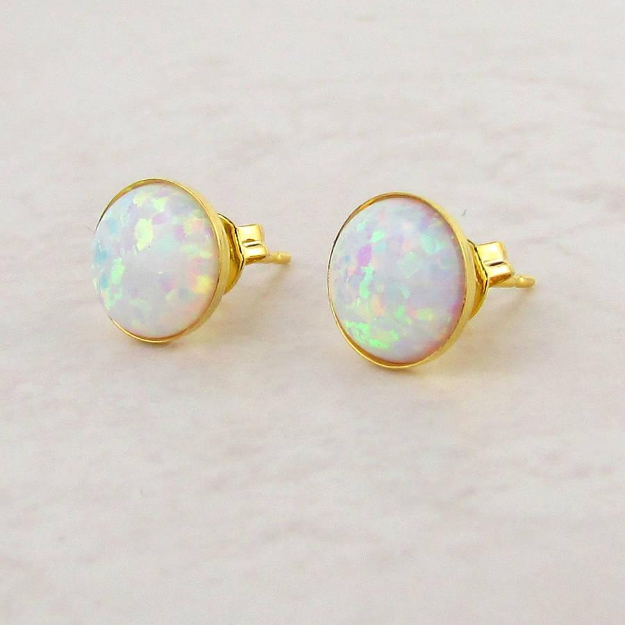 white opal stud earrings by misskukie