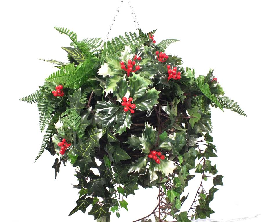 Holly And Greenery Christmas Basket By Artificial