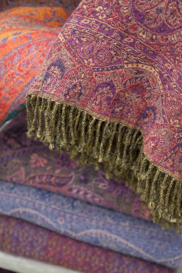 jamawar wool sofa throws by indian garden company