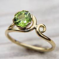peridot art nouveau style ring in 18ct gold by lilia nash ...