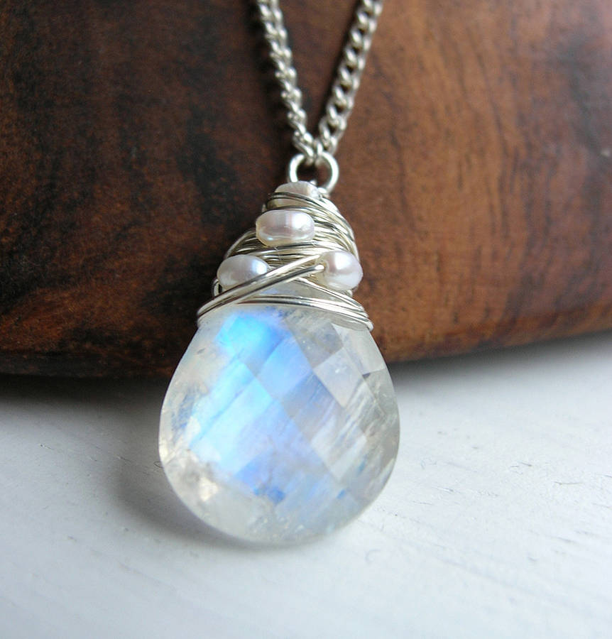 silver moonstone necklace with pearls by sarah hickey  notonthehighstreetcom