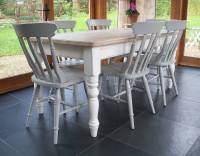 farmhouse table and chairs hand painted by rectory blue ...