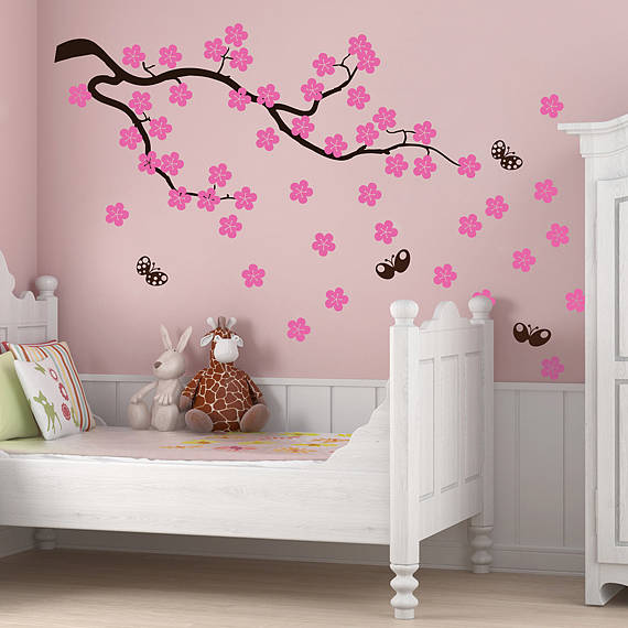 Girls Wallpaper Decals With Eiffel Tower Cherry Blossom Branch Wall Stickers By Parkins Interiors