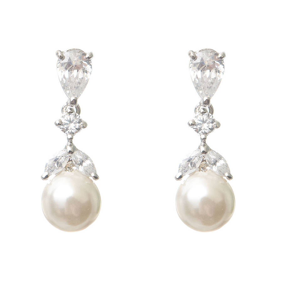 iris pearl and crystal drop earrings by chez bec