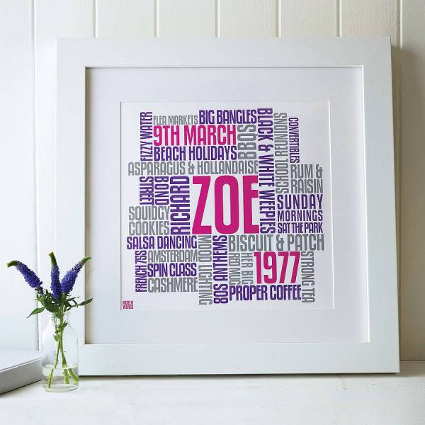 personalised birthday typographic artwork by more than