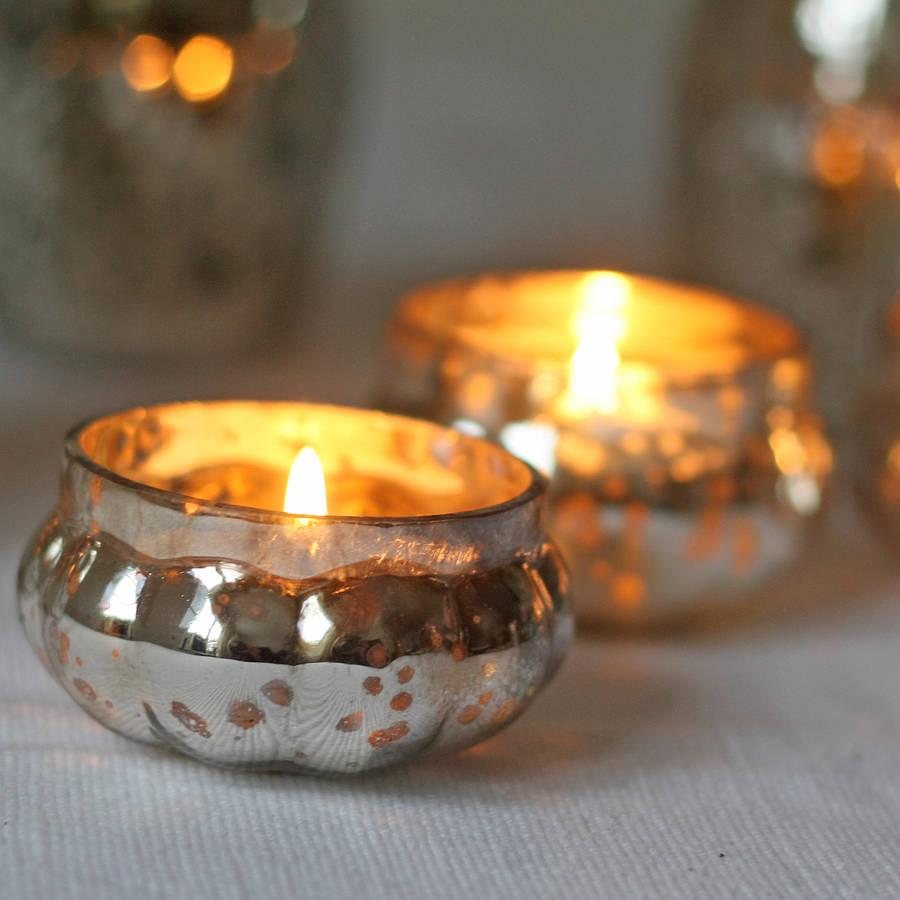 mini mercury silver tea light holder by the wedding of my