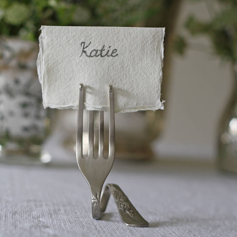 Set Of Four Fork Place Card Holders By The Wedding Of My