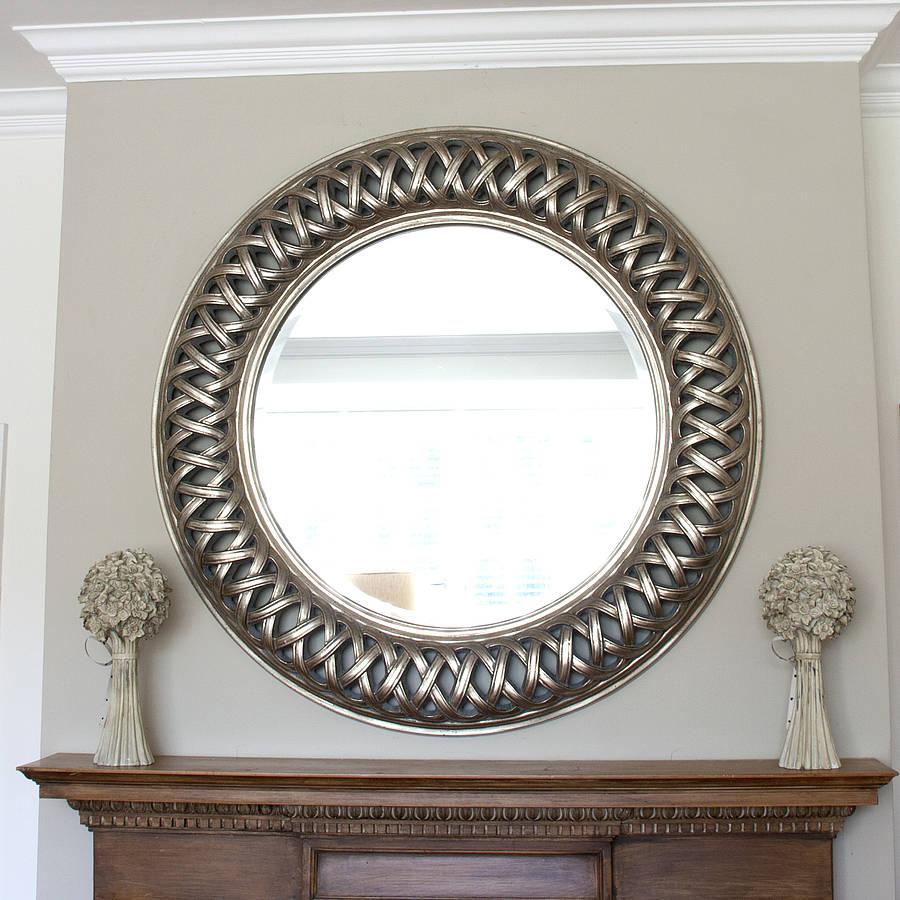 Grand Champagne Silver Weave Round Mirror By Decorative