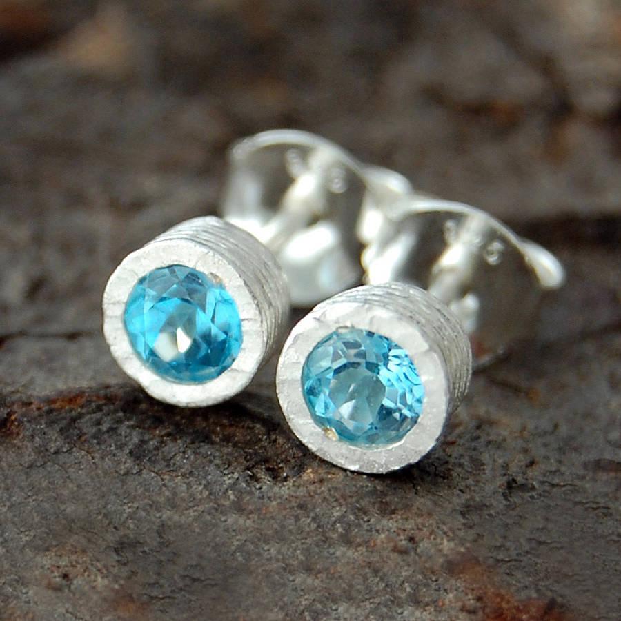 Blue Topaz Dot Silver Stud Earrings By Embers Gemstone