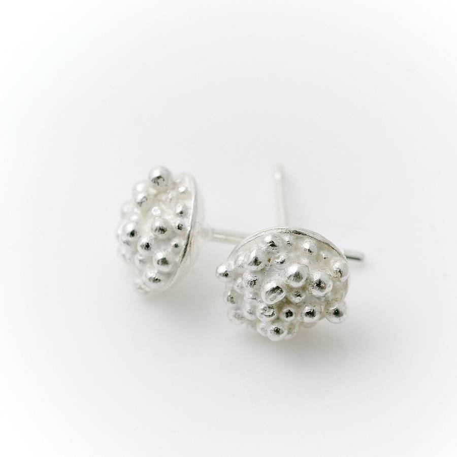 silver beaded stud earrings by alice robson jewellery