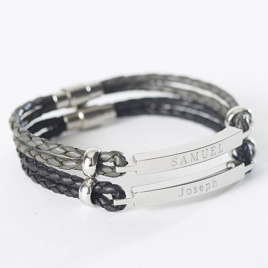 Mens Personalised Leather Identity Bracelet By Suzy Q