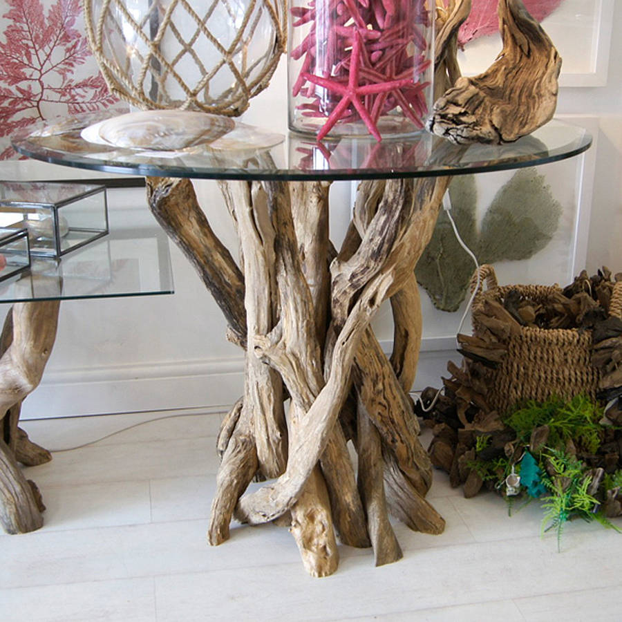 small natural driftwood round dining table by karen miller