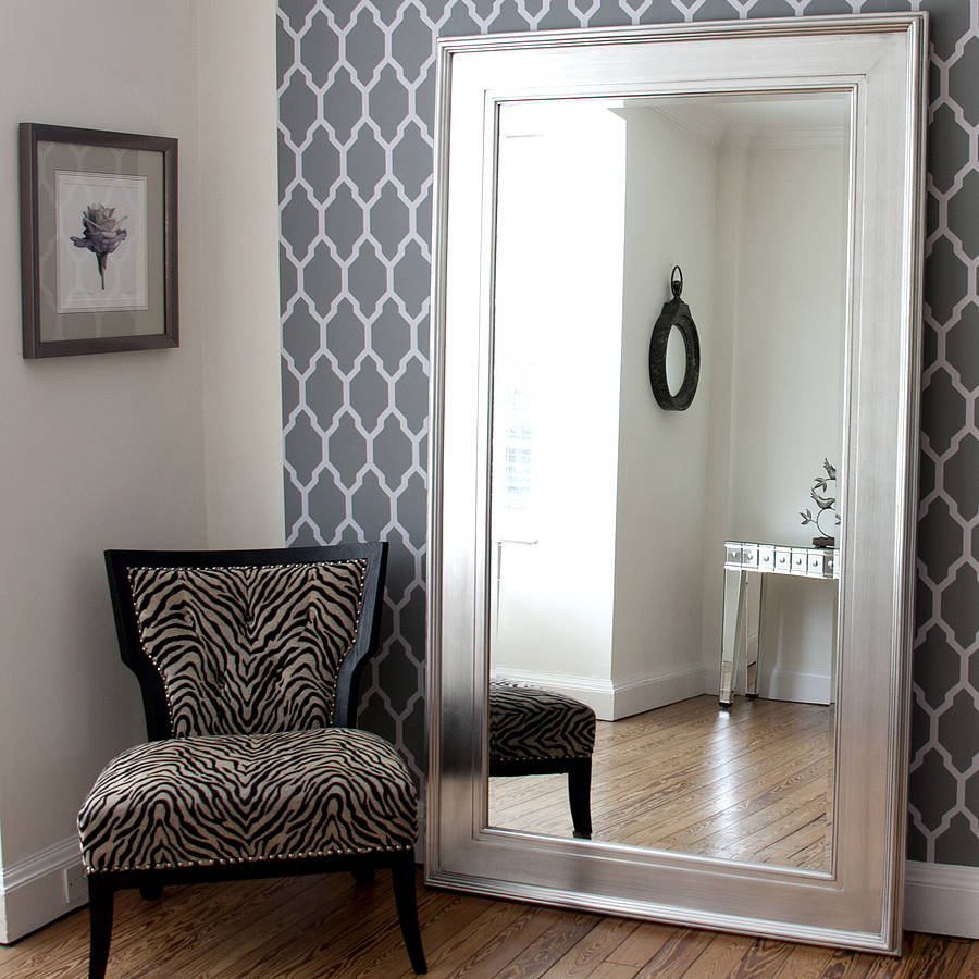 black silver wide framed mirror by decorative mirrors