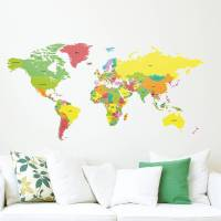 countries of the world map wall sticker by the binary box