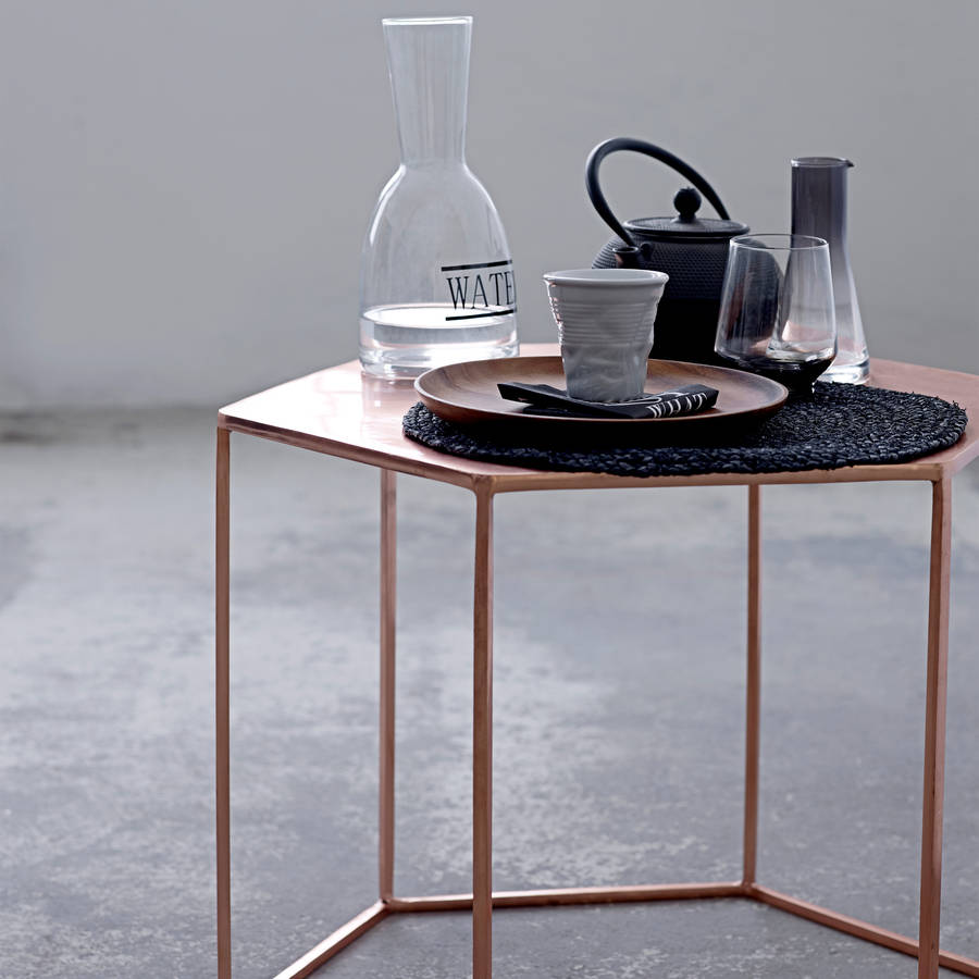 hanging chair notonthehighstreet table and rental columbus ohio copper plated hexagonal coffee by out there interiors   notonthehighstreet.com