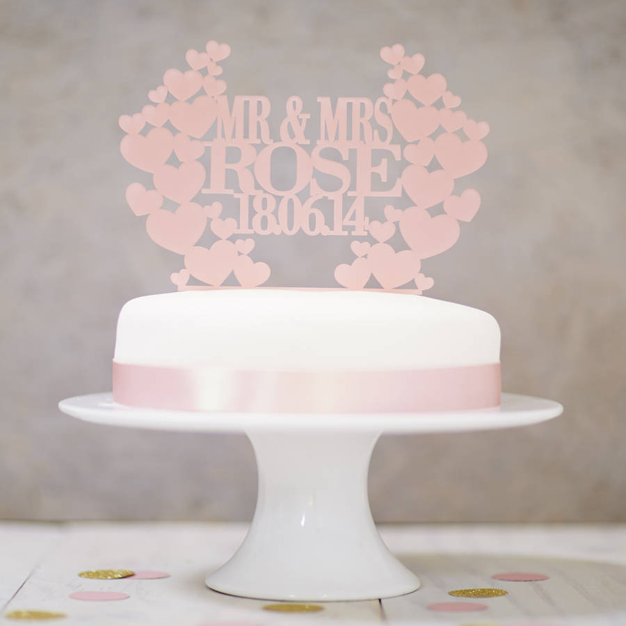 Personalised Heart Wreath Wedding Cake Topper By Sophia