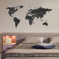 black labelled world map wall stickers by the binary box ...