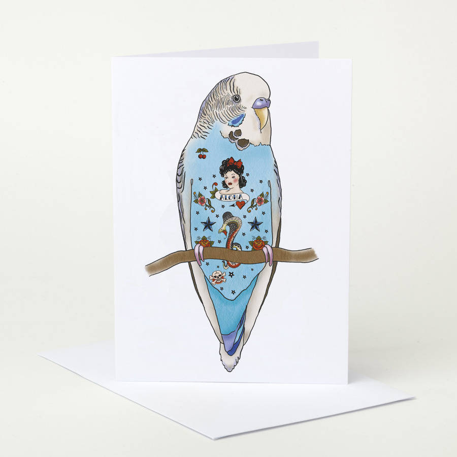 Tattoo Budgie Birthday Card By Pugyeah