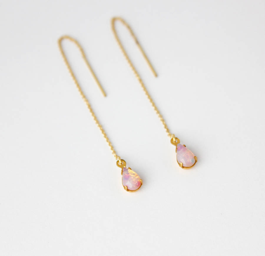 gold filled teardrop threader earrings by beadin' nora