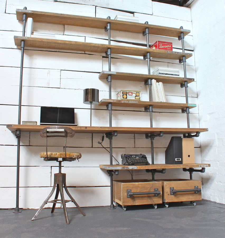 caroline wood and pipe industrial desk and shelves by