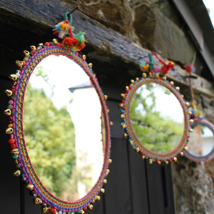 set of three bohemian hanging mirrors by the forest  co
