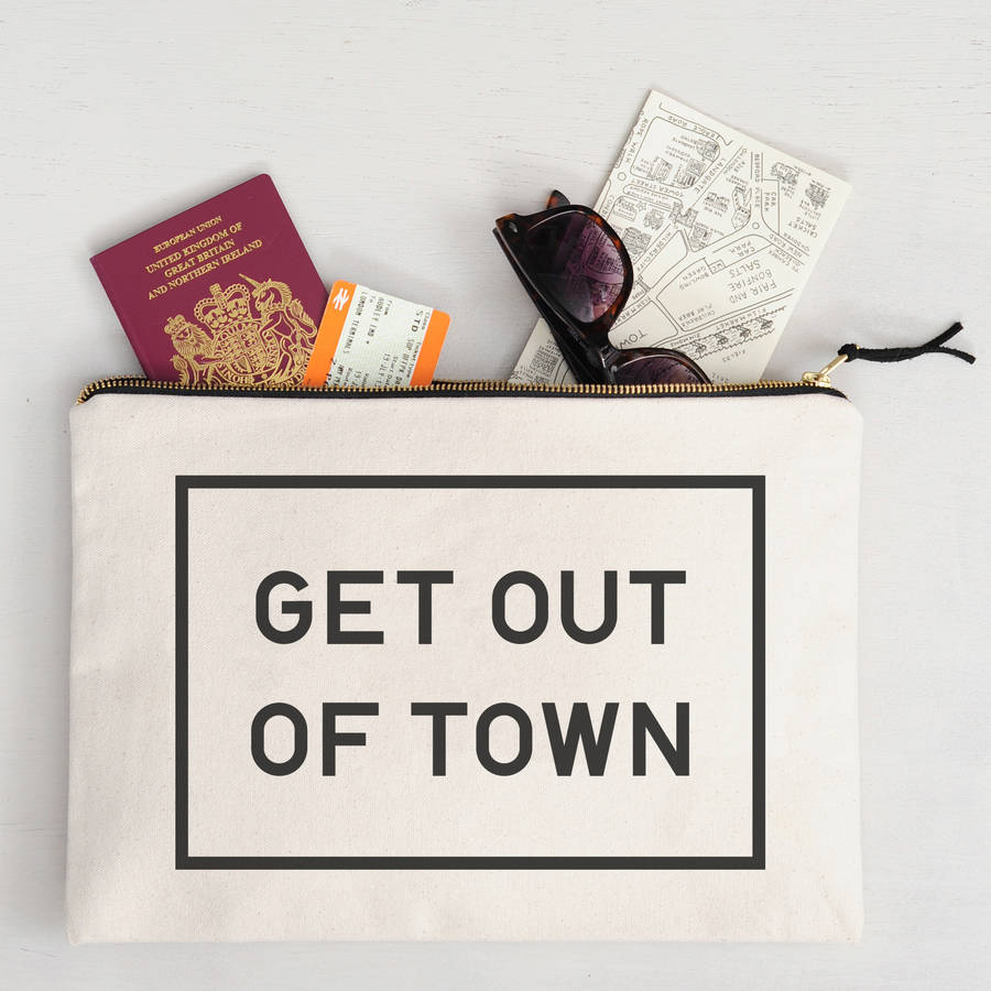 get out of town oversized travel pouch by alphabet bags