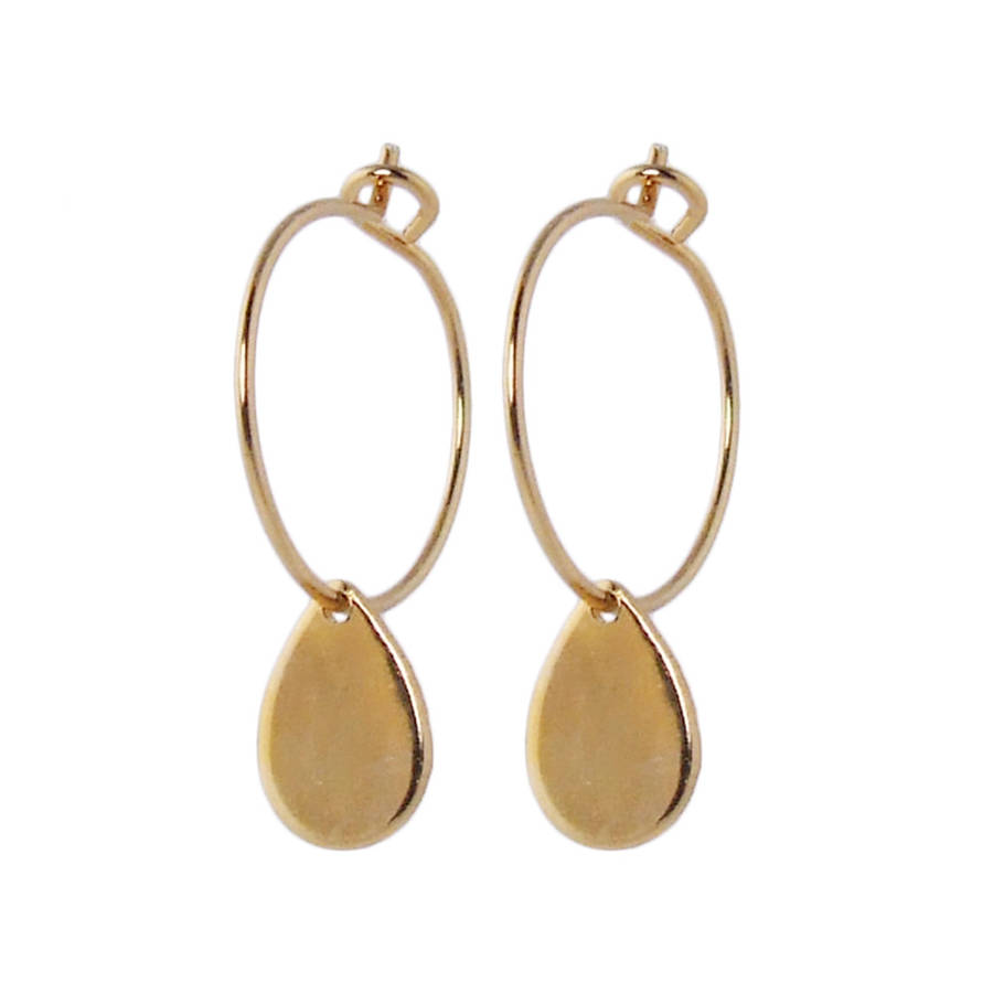small gold hoop earrings with teardrops by aliquo