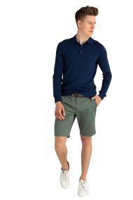 Trussardi Jeans ανδρική πλκεκτή μπλούζα πόλο με κεντημένο λογότυπο - 52M00237-0F000412 - Μπλε Σκούρο