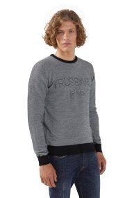 Trussardi Jeans ανδρική πλεκτή μπλούζα με logo print - 52M00241-0F000428 - Γκρι
