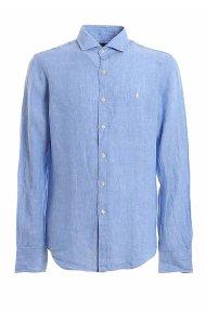 Polo Ralph Lauren ανδρικό λινό πουκάμισο με κεντημένο logo - 710795426003 - Γαλάζιο
