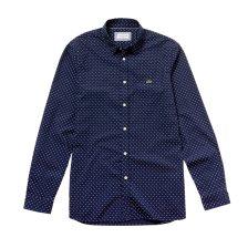 Lacoste ανδρικό πουκάμισο Mini Signature Print Slim Fit - CH4877 - Μπλε Σκούρο