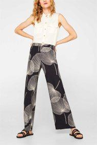 Esprit γυναικεία παντελόνα Palazzo με print - 079EO1B018 - Μαύρο