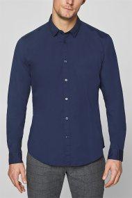 Esprit ανδρικό ελαστικό πουκάμισο μονόχρωμο - 128EE2F010 - Μπλε Σκούρο