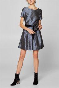 Esprit γυναικεία flared φούστα σατέν με βελούδινη ζώνη - 128EO1D004 - Ασημί