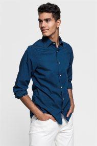 Gant ανδρικό πουκάμισο μονόχρωμο Slim Fit Tech Prep™ - 3008126 - Μπλε Σκούρο
