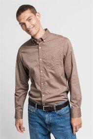 Gant ανδρικό μακρυμάνικο πουκάμισο μονόχρωμο Winter Twill - 3021430 - Μπεζ