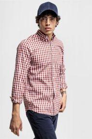 Gant ανδρικό πουκάμισο καρό Gingham Heather Oxford Shirt - 3061500 - Κόκκινο