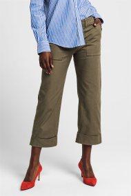 Gant γυναικείο παντελόνι cropped μονόχρωμο - 4150101 - Χακί