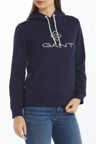 Gant γυναικείο φούτερ με κουκούλα και κεντημένο logo print - 4204681 - Μπλε Σκούρο