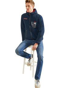 La Martina ανδρικό jacket με κουκούλα διπλής όψης Lincoln - NMO300-PA004 - Μπλε Σκούρο