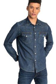 Lee ανδρικό τζην πουκάμισο Slim fit Western - L643PLLH - Μπλε Σκούρο