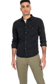 Lee ανδρικό μονόχρωμο πουκάμισο Western - L643PA01 - Μαύρο