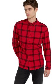 Wrangler ανδρικό καρό πουκάμισο με μία τσέπη μπροστά - W5A1T2X51 - Κόκκινο